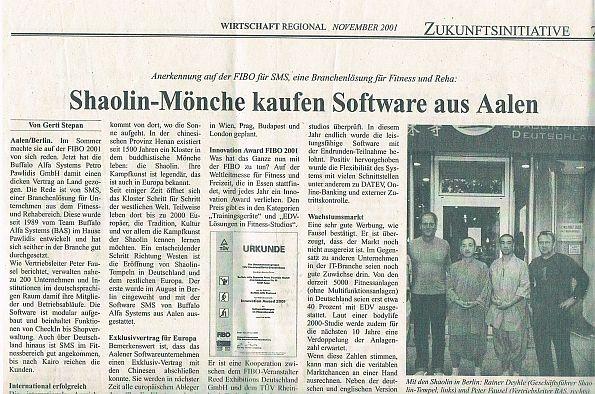 Shaolin-Mönche kaufen Software aus Aalen
